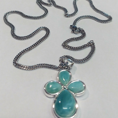 Rounded Blue Larimar Crosses