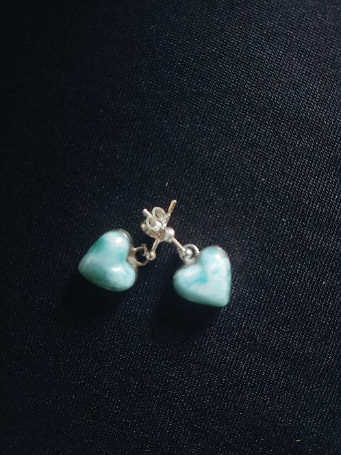 Larimar Heart Shaped Earrings