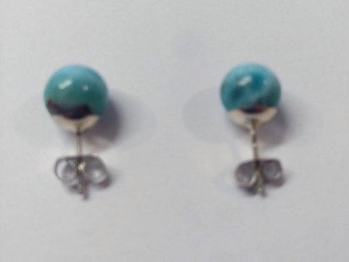 Larimar Earrings (small ball type)