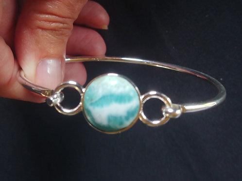 Larimar Std. Round Stone Bangle Bracelets