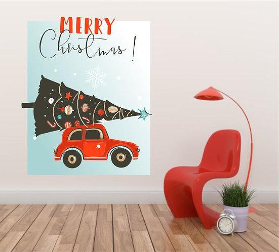 "Vinilo impreso ""coche navideño"""