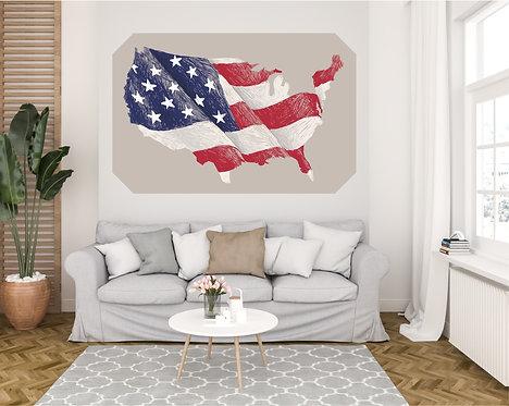 """Vinilo impreso """"mapa EEUU"""""""