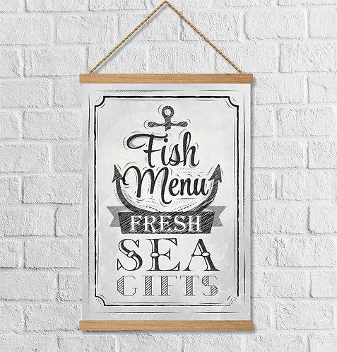 """Cuadro Lienzo """"fish menu"""""""
