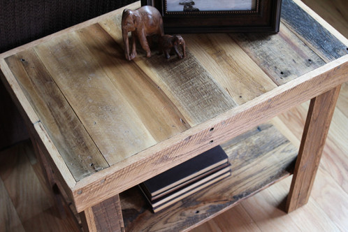 Reclaimed Wood Side Table With Shelf | The Wood Garage LLC  Reclaimed + Barnwood  Furniture