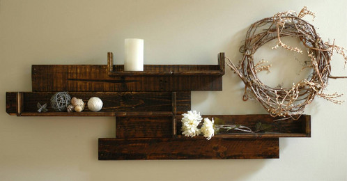 We've taken the best of modern and rustic and combined them for this unique reclaimed  wood wall unit. We love the contemporary and modern layout of the wood ... - Modern Rustic Pallet Wood Wall Shelf The Wood Garage LLC