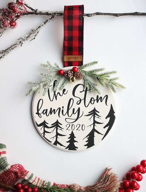 Winter Pines Personalized Oversized Ornament/Mini Sign