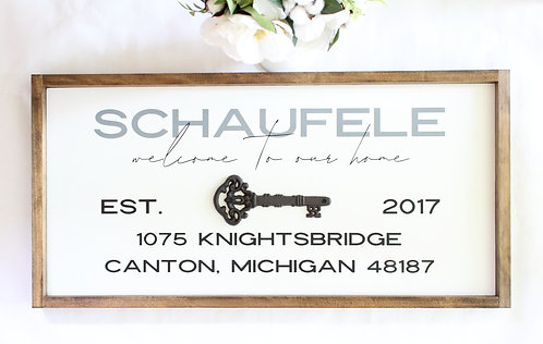 Personalized Home Address Sign with Metal Key