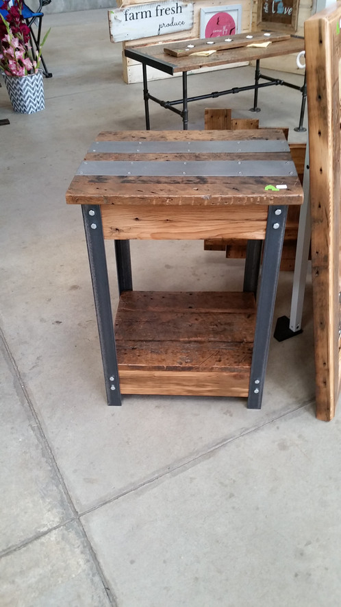 The Beauty Of Barn Wood Meets The Strength And Stateliness Of Our  Industrial Steel In This Barn Wood And Angle Iron Side Table. The 100+ Year  Old Barn Wood ...