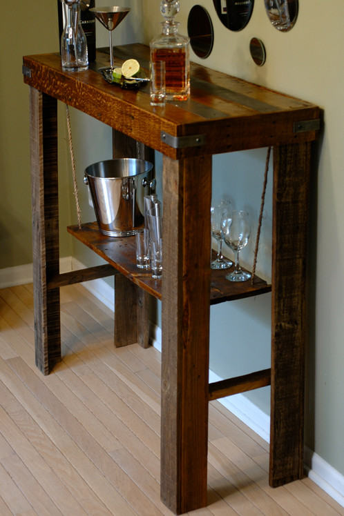 Rustic and modern join to bring you a one of kind table to display your  best bar ware. We've taken the natural warmth of reclaimed wood and added  an ... - Reclaimed Wood Bar Height Console Table The Wood Garage LLC