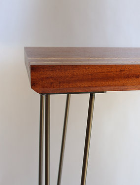 Reclaimed Red Mahogany And Hairpin Side Table
