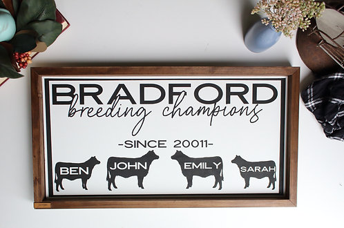 Breeding Champions Personalized Sign