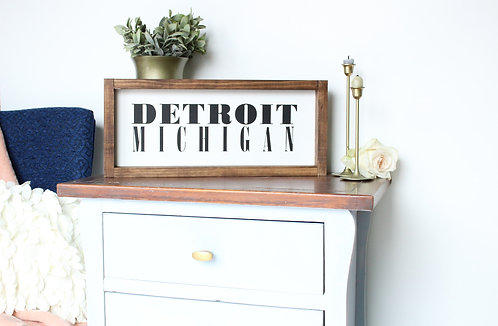 Personalized City and State Sign: Detroit Font