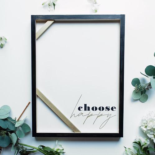 Choose Happy Modern Wood Sign
