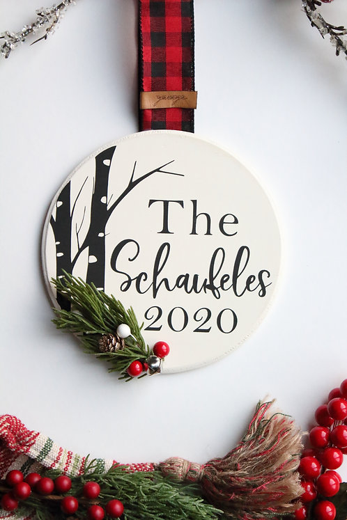 Birch Trees Personalized Christmas Ornament/Mini Sign