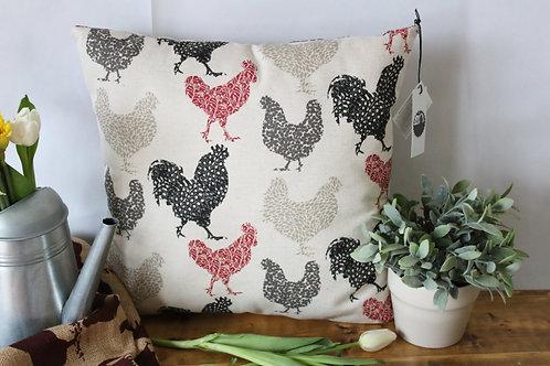 "Farmhouse Hens 18"" Pillow"
