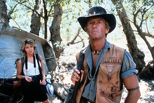 Paul Hogan as Crocodile Dundee with co-s