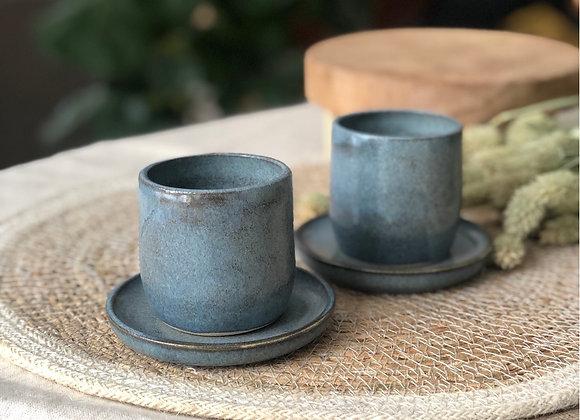 Ensemble de 2 tasses et sous-tasses Bleu de Gris
