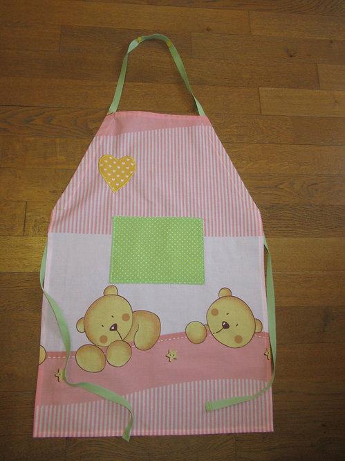 tablier enfant avec poche en coton rose et vert avec ours
