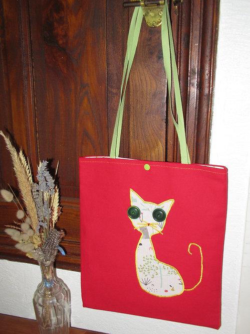 cabas enfant rouge appliqué chat
