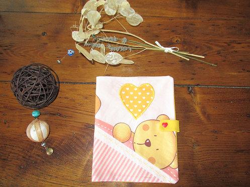 protège cahier carnet de santé rose avec ours