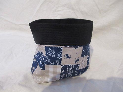 grand pochon rangement en tissu bleu et noir