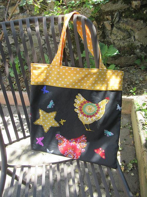 tote bag sac jaune et noir avec des poules