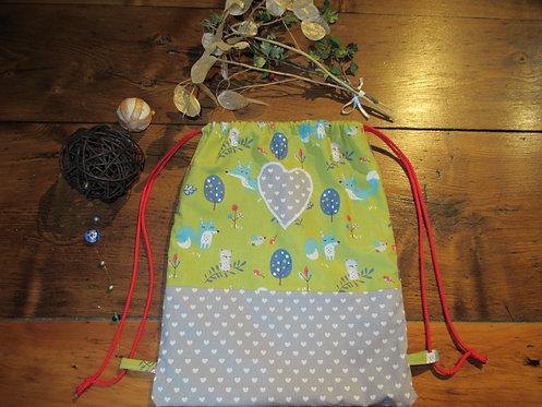sac à dos bébé enfant vert renard gris et appliqué coeur