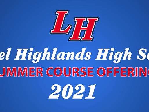 LH High School Summer Course Offerings