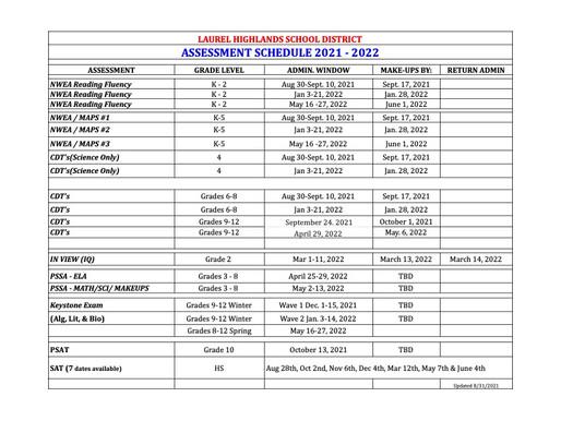 LHSD 2021-2022 Assessment Schedule