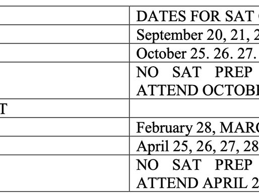 LH SAT PREP INFO AND SAT/ACT TESTING DATES