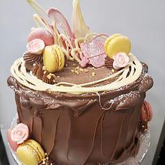 Chocolate Cake with Macarons and Chocolate Work