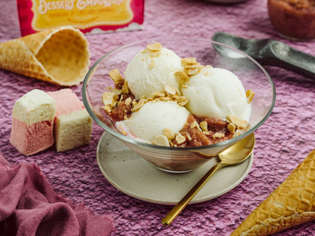 Rhubarb and Custard Ice Cream Sundaes