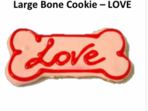 Large Baked Dog Bone Cookie: LOVE