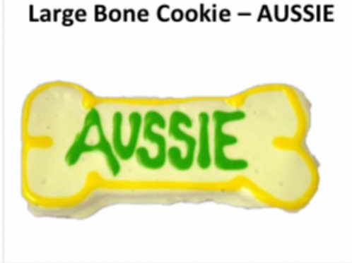 Large Baked Dog Bone Cookie: AUSSIE