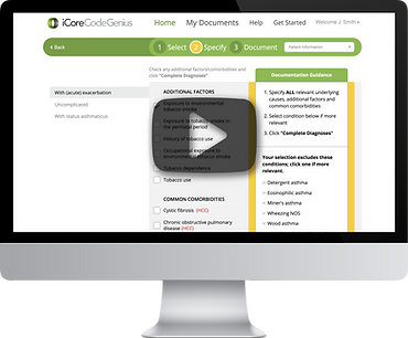 iCoreConnect iCoreCodeGenius rapid medical coding cloud software on screen to replace ICD-10 guide reference book