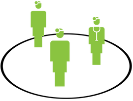 Three doctor symbols inside a circle for iCoreConnect iCoreFlex private encrypted network