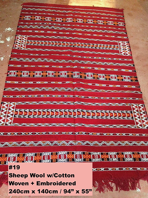 Red Handmade Sheep Wool w/Cotton Carpet/Textile