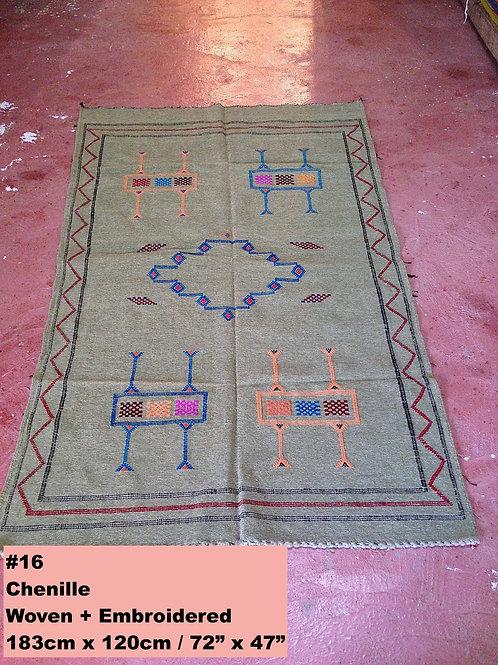 Sage Green Handmade Soft Chenille w/Cotton Carpet/Textile