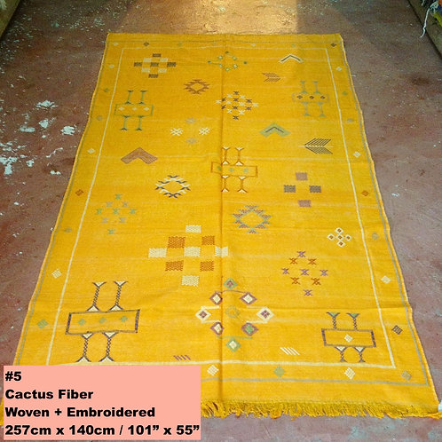 Gold Handmade Cactus Fiber Carpet - Animal Free, Sustainable Materials