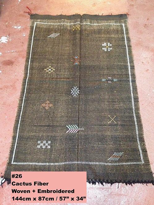 Black Handmade Cactus Fiber Carpet - Animal Free, Sustainable Materials