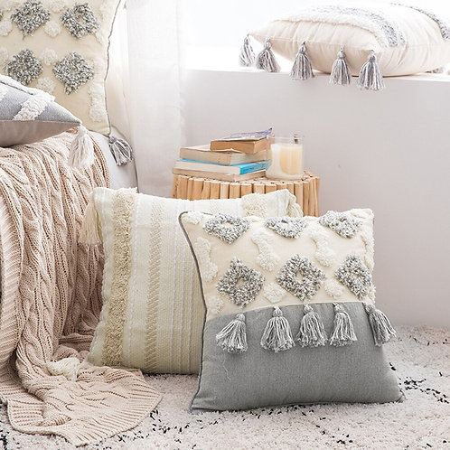 Moroccan Decorative Square Tufted Tassel Cushion Cover