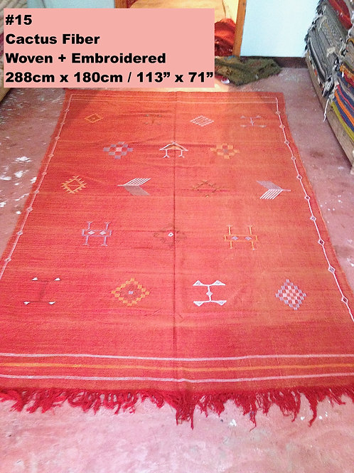 Red Handmade Cactus Fiber Carpet - Animal Free, Sustainable Materials