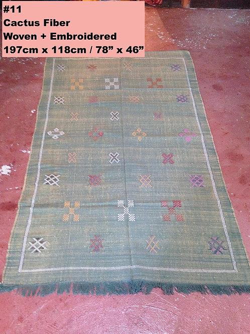 Green Handmade Cactus Fiber Carpet - Animal Free, Sustainable Materials