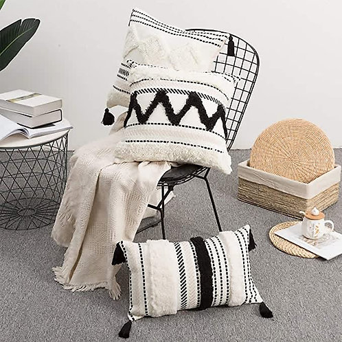 Moroccan Textured Black and White Pillow Covers