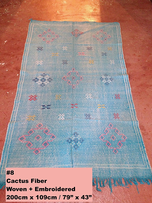 Turquoise Handmade Cactus Fiber Carpet - Animal Free, Sustainable Materials