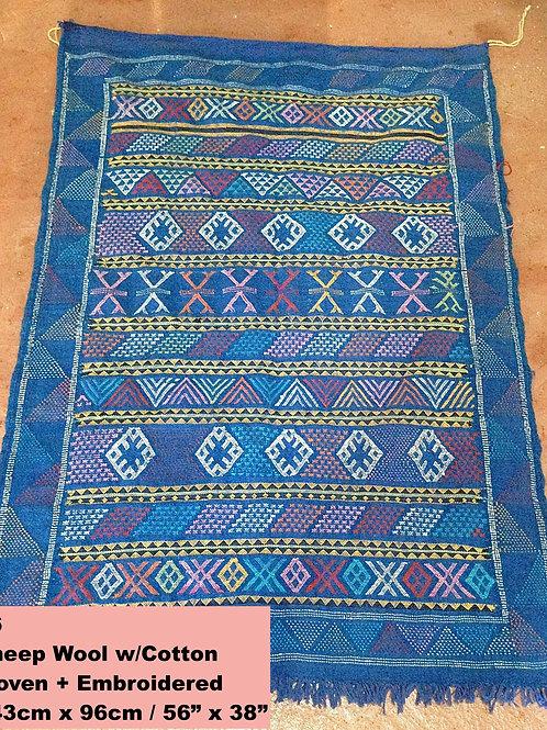 Bright Blue Handmade Sheep Wool w/Cotton Carpet/Textile