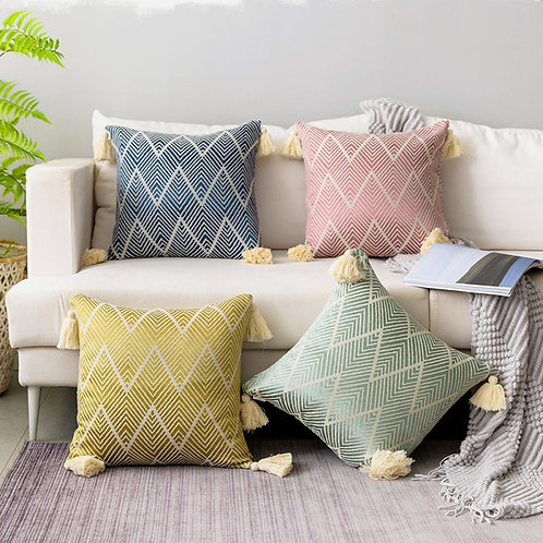Colorful Moroccan Zig Zag Cushion Cover with Tassels 60X60