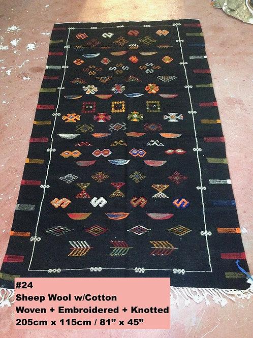 Black Handmade Sheep Wool w/Cotton Carpet/Textile