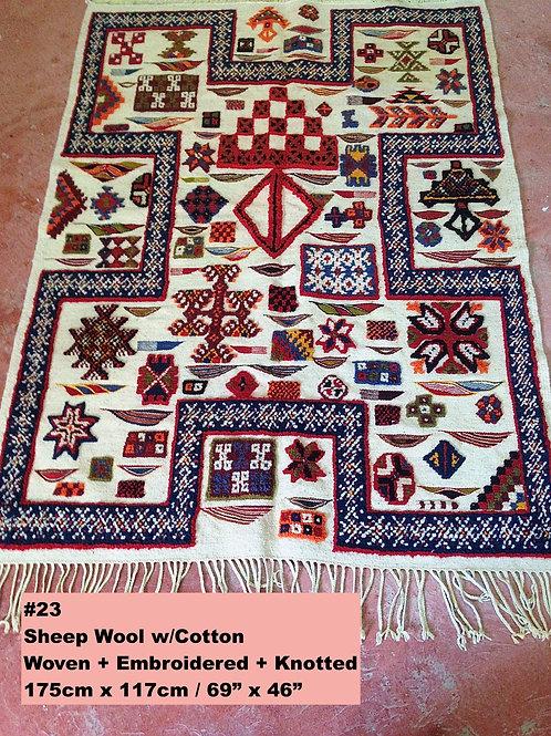 Handmade Textured Sheep Wool W/Cotton Carpet/Textile