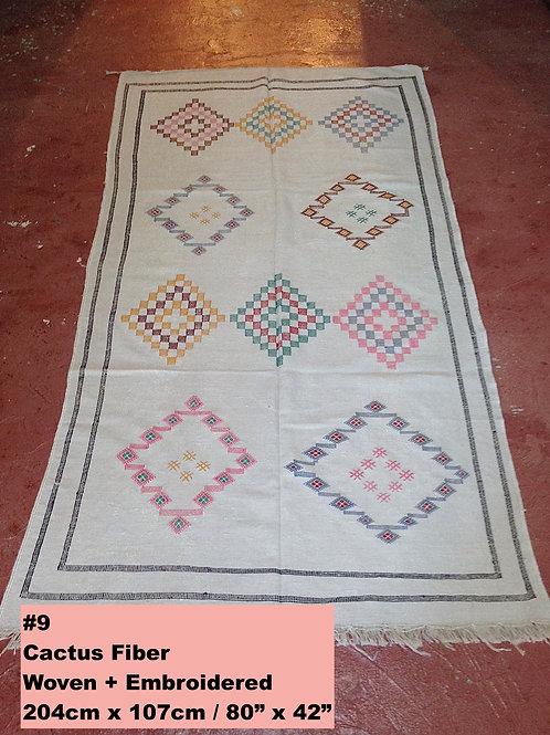 Cream/Off-White Handmade Cactus Fiber Carpet - Animal Free, Sustainable Material
